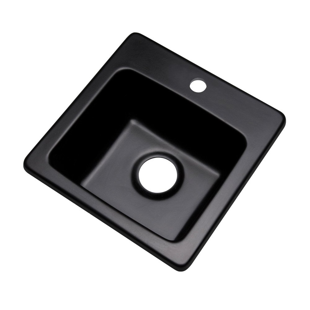 Dekor Sinks 27199Q Duxbury Composite Granite Prep Sink with One Hole, 16'', Black by Dekor Sinks