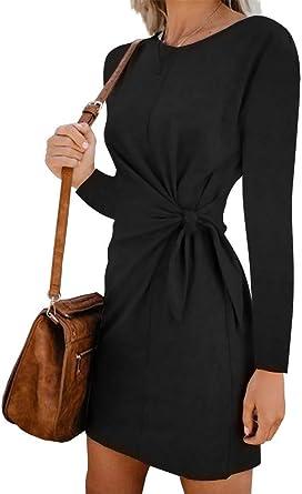 Leepus Vestido de Manga Larga sólido de Mujer de Moda Corbata ...