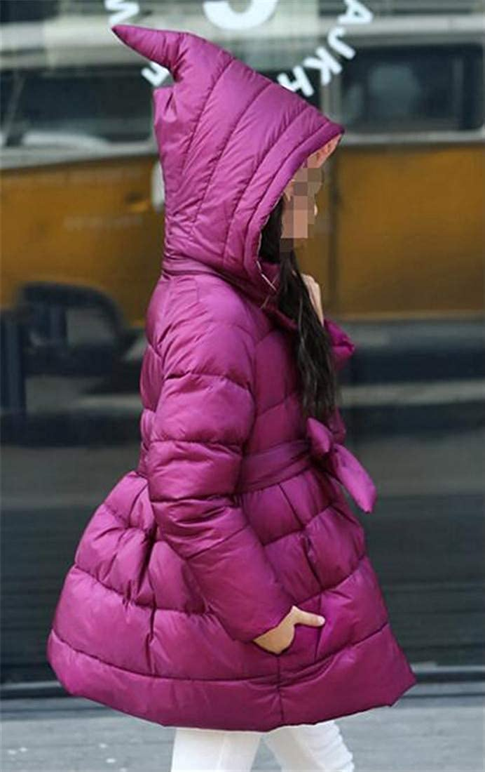 Lutratocro Girl Stylish Swing Puffer Hooded Hooded Belted Overcoat Down Coat Jacket