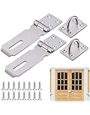 AFASOES Hasp 2 stuks veiligheidsslot, roestvrij staal, deurslot, 12,2 cm (5 inch), veiligheidsoverval, hangslot, deur, hasp-slot, kast, veiligheidsinrichting voor hangslot