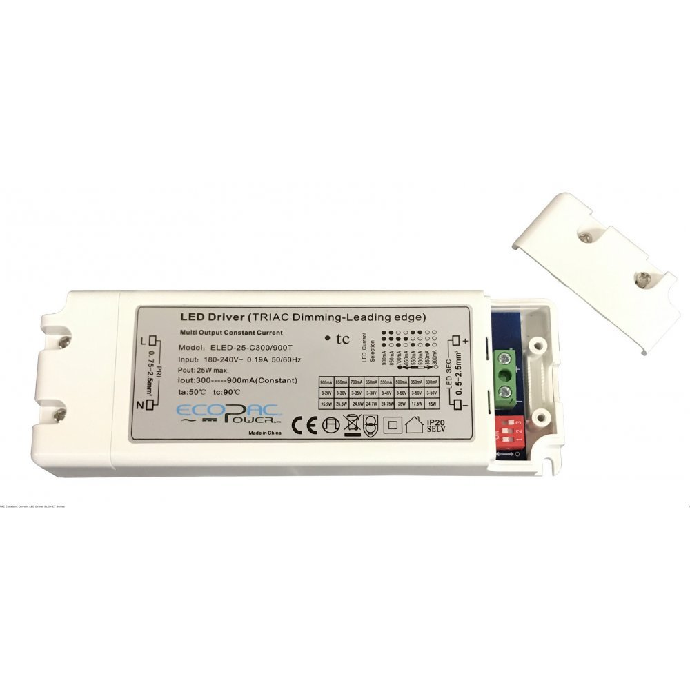 Ecopac ELED-15-C150/700T Selectable Constant Current LED Driver 150-700mA Ecopac Power