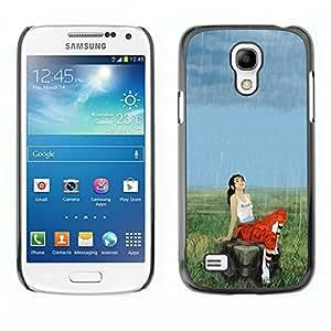 Caucho caso de Shell duro de la cubierta de accesorios de protección BY RAYDREAMMM - Samsung Galaxy S4 Mini i9190 - Apertura Girl & Lluvia