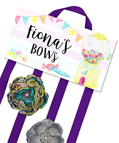 (Hair Bow Holder - Personalized Gum Ball Candy Machine Bow Holder - Bows and Clips Organizer - Girls Personal Hair Bow Clip Holder HB0310)