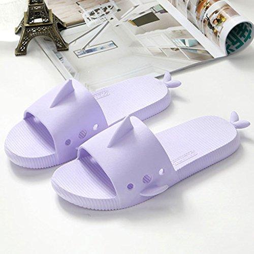 0 LI anti dérapant forme taille intérieur EU39 SHI sandales salle Couleur Bleu UK6 CN39 SHOP Poissons Pantoufles été Violet XIANG femelle mignon de bains pantoufles maison 6qgXrZ6