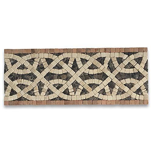 (Stone Center Online Cythera Sunny 4.7x12 Marble Mosaic Border Listello Tile Tumbled)