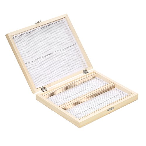 - Microscope Slides Storage Box, KKmoon 100-Places Wooden Slide Storage Box with Numbered Slots Contents Sheet for Prepared Microscope Slides