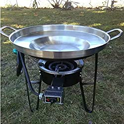 Large 3 In 1 Mexican Style Concave Comal Stainless Steel 22 Set With Propane Burner Stove Heavy Duty Metal Cast Iron Stand Ideal For Food Residential Commercial Restaurant Para Tacos Use
