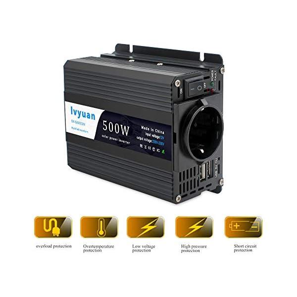 51AyTbeb00L LVYUAN 500W Wechselrichter DC 12 V auf 230V AC Spannungswandler Auto Konverter 12 V mit Dual USB Ports & EU-Steckdosen…