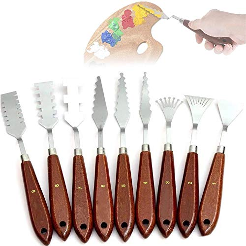 Ationgle Palette Knife 9 Pieces Paint Knives Set RGM Palette Scraper Basic Painting Tools Kit with Stainless Steel Blade and Wooden Handles for Oil Painting, Acrylic Mixing