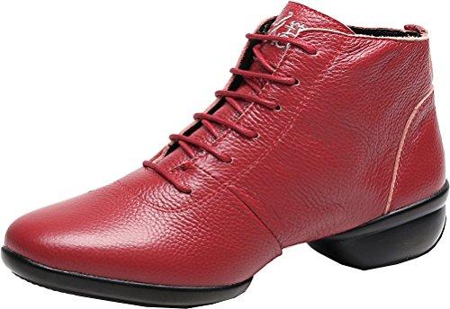 Abby 1001 Femmes Mi-haut Jazz Pratique Chaussures De Danse Bout Rond Lace Up Plat Split Semelle Pu Sneakers Rouge