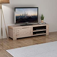 Daonanba Solid Brushed Wooden TV Stand TV Cabinet Durable Low Cabinet Side Cabinet Vintage Home Furniture Decor Suitable for Bedroom Living Room
