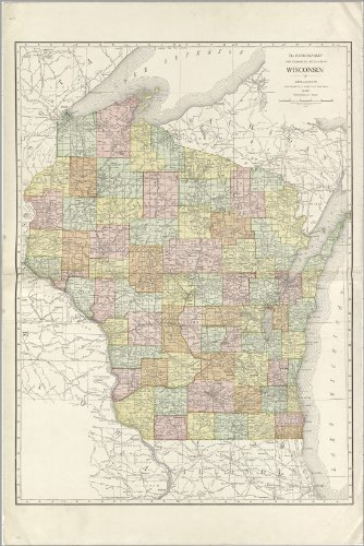 Poster Map Of Wisconsin 1914 Antique Reprint