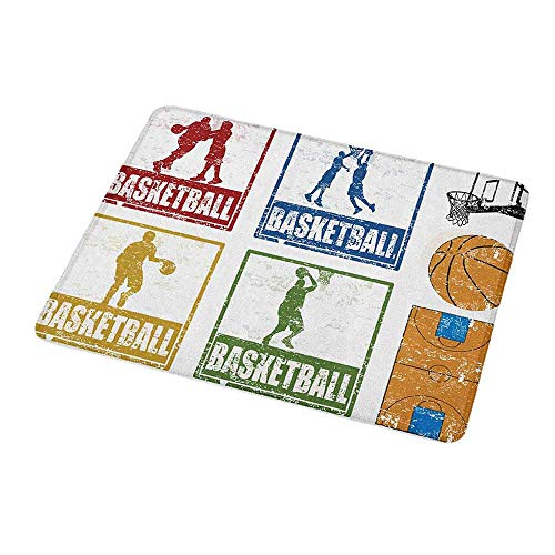 Rectangle Non-Slip Rubber Mouse Pad Basketball,Collection of Vintage Rubber Stamp Print Illustration Basketball Players,Navy Green Red,Mousepad Great for Laptop,Computer 9.8