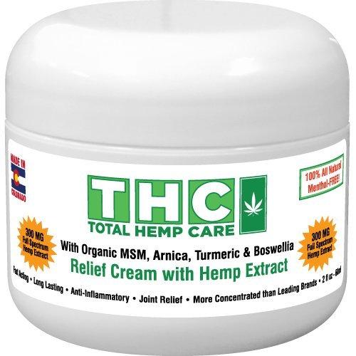 Pain Relief Cream W/Full-Spectrum Rich Hemp Extract- (300mg+ 45mg CBC,CBG) + Organic MSM, Arnica, Turmeric & Boswellia (300mg) - Healthy Msm Lotion