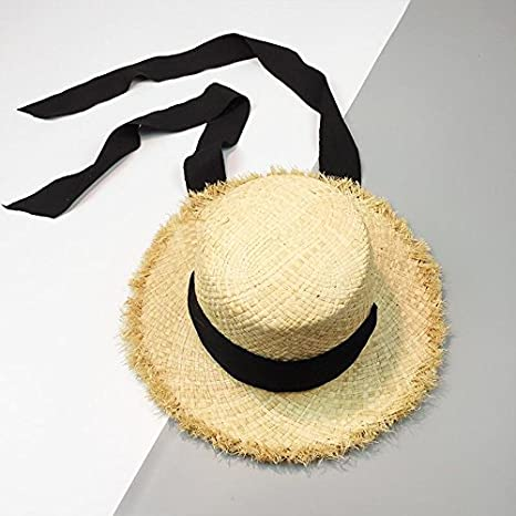 Amazon.com   ALWLj Handmade Weave Raffia Sun Hats For Women Black Ribbon  Lace Up Large Brim Straw Hat Outdoor Beach Summer Caps   Sports   Outdoors 82702342d71