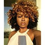 Ten Chopstics Wig Sexy Hair Style Short Curly Human Hair Wigs 180 Density Wavy Curls Lace Front Wigs For African American Black Woman Brazilian Hair Ombre Color Front Lace Wig