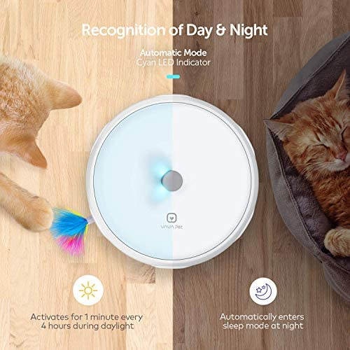 VAVAPet Interactive Cat Toys, Cat Toys Three Modes Day&Night Play Automatic Randomly Stimulates Cat's Senses Easy Replace Feather(Included Battery&Spare Feather) (Full Unit) 4