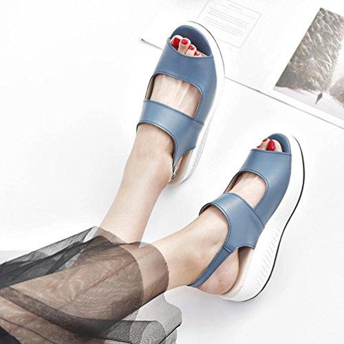 Women Platform Shoes,Hemlock Wedges Sandals Fish Mouth Thick Bottom High Heel Shoes Boots (US:7.5, Blue)
