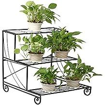 Topeakmart 3-Tier Metal Flower Stand Plant Stand w/Step Design Shelving System Rack, Black