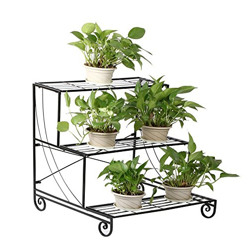 (Topeakmart 3-Tier Metal Flower Stand Plant Stand w/Step Design Shelving System Rack, Black)