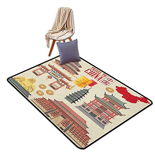 (Children's Rugs Playrug Rugs Ancient China Vintage Style Traditional Asian Buildings Illustration Chinese Map Silhouette Girl Room Children's Room Kindergarten Decoration Rug W6'xL7')