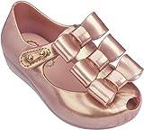 Mini Melissa Girls' Mini Triple Bow Ballet Flat, Metallic Pink, 9 Medium US Toddler
