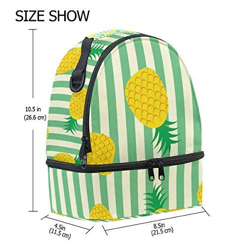 Tote pour réglable lunch isotherme Pincnic à l'école à avec Cooler Boîte Sac Alinlo Ananas rayures bandoulière Motif q1OOzH