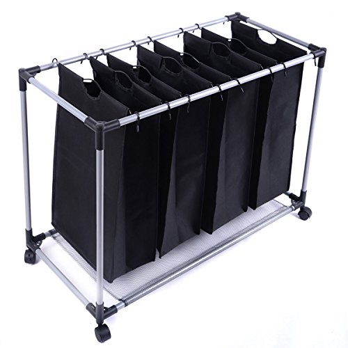 (Black Heavy-Duty 4-Bag Laundry Sorter Hamper Clothes Organizer)