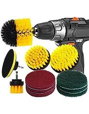 RAIN QUEEN Borste 10 st elektrisk rengöring borste kraft skrubbborste borrfixering borsta kakel bilrengöring set power brush set (set 10, gul)