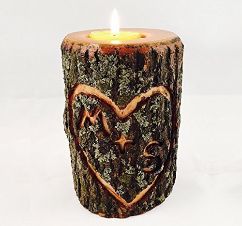 Custom Carved Initials Wood Tea Light or Votive Candle Holder -