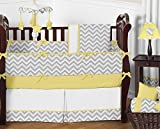 Sweet Jojo Designs 9-Piece Gray and Yellow Chevron Zig Zag Unisex Baby Bedding Girl or Boy Crib Set