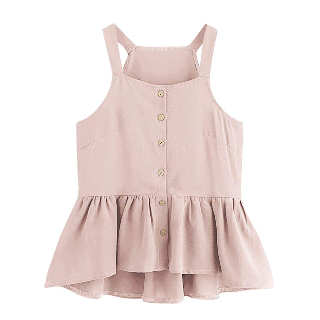 Women Casual Solid Color Camis Sleeveless Crop Single Breasted Ruffle Hem Tops (Pink, S)