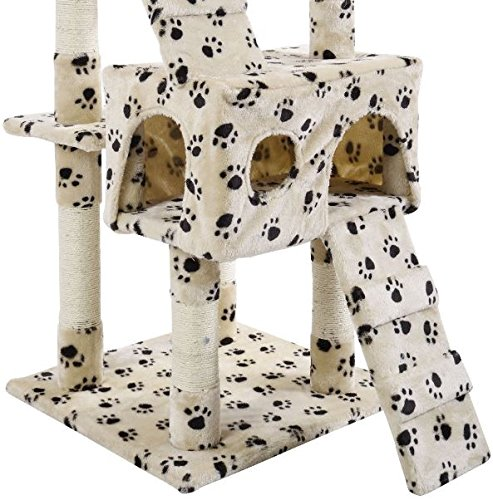 K&A Company Cat Tree Furniture Tower Condo Kitten House Pet Post Play Scratching Toy Bed Scratcher New Beige and Paws 67''