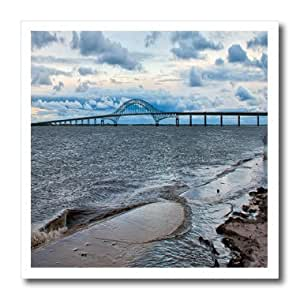 ht_98347_3 Roni Chastain Sea Scapes - Robert Moses Causeway bridge going to fire island, sand, water and cloudy sky. - Iron on Heat Transfers - 10x10 Iron on Heat Transfer for White Material
