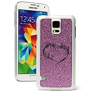 Samsung Galaxy S5 Glitter Bling Hard Case Cover Heart Love Music Notes (Purple)
