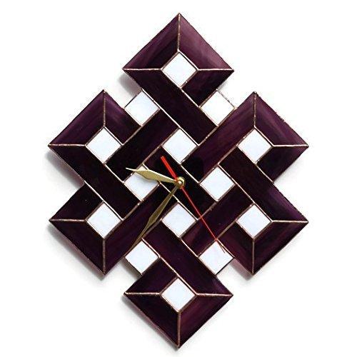 ZangerGlass Handmade Large Celtic Shield Knot Stained Glass Wall Clock Purple, Modern Wall Art