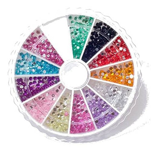 TOOGOO(R) Rhinestone Pack of 1200 Crystal Premium Quality 2mm Gemstones in 12 different colors, beauty accessory for women nails, fun and easy to apply with top coat or nail glue! (Gemstones Quality Premium)