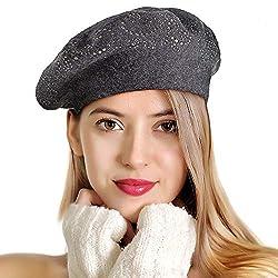 Grey Rhinestones 2 Layers Wool French Hat