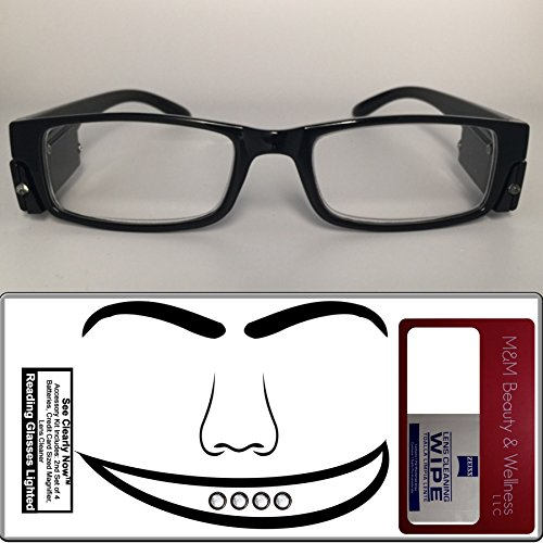 Reading Glasses Lighted ~ See Clearly Now Kit(TM) - 8 Batteries, Carl Zeiss Lens Cloth, Credit Card Magnifier ~ Corrective LED Readers with Lights Provide Hands Free Illumination ~ 2.0x - Reading Led Glasses