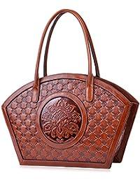 Women Designer Shoulder Handbag Floral Leather Tote Purses