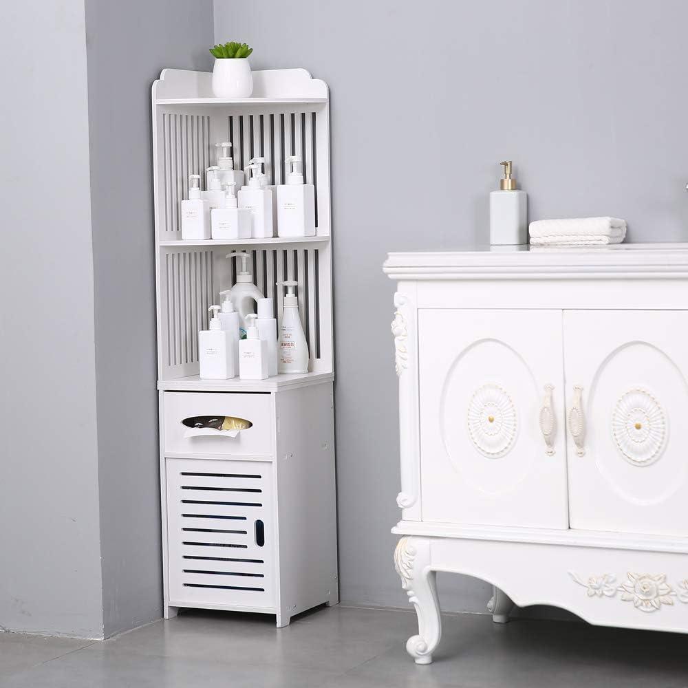 Decorative Cabinet 30x30x120cm White N // A Corner Bathroom Shelf Storage Rack