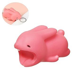 Leegoal Protector de Cable USB para iPhone Cargador, Protector Cubre para Celular, Accessories Electronics Universal de Dibujos Animados (Conejo Rosa)