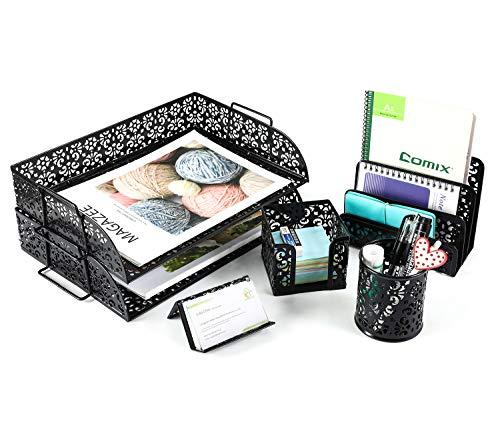 EasyPAG 5 in 1 Desk Organizer Set - 2 Tier Desk Tray,Letter Sorter, Pen Holder,Business Card Holder and Stick Note Holder, - Set Tray Desk