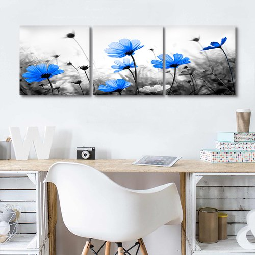 Royal Blue Wall Art, Three Piece Canvas Prints Flower Painting Framed Blue Floral Art for Living Room Bedroom Kitchen Office Wall Decoration Living Room Beddroom Wall Decoration (Blue, 12inx12inx3) -
