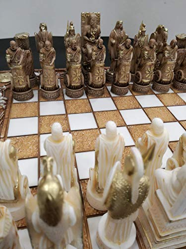 Chess Board Alabaster Set Ancient Greece Themed Chessboard 35 ()