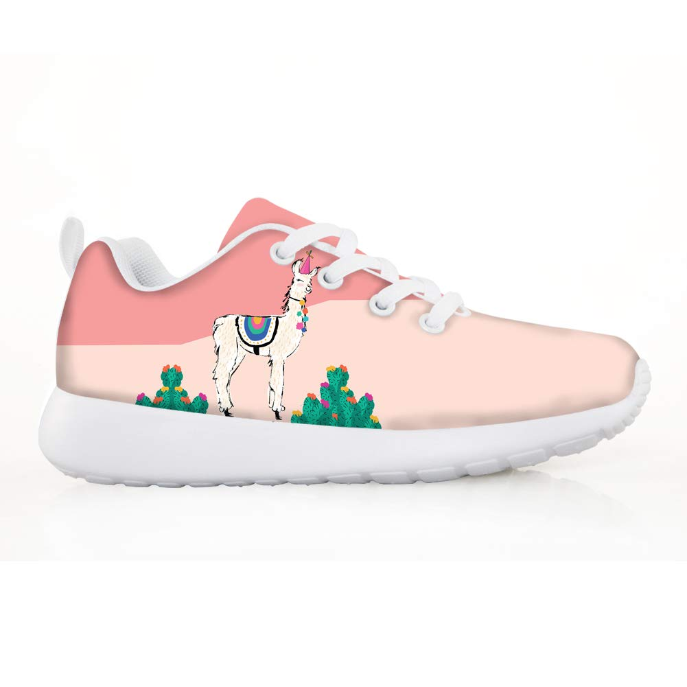 Boys Girls Casual Lace-up Sneakers Running Shoes Cacti Cactus Lovely Cinco De Mayo Llama White