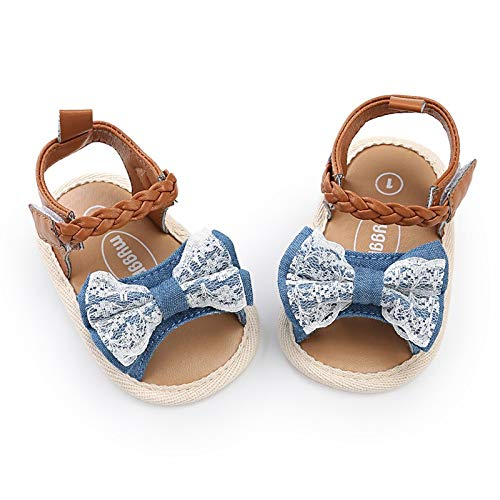 Summer Girl Baby Woven Sandals Shoes Sneaker Anti-Slip Soft Sole Toddler Shoes (#2 Denim Blue Lace, S. 0_6M)