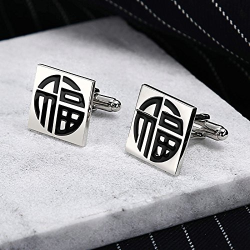 KnSam Stainless Steel Cufflinks for Mens Square Engraved Chinese Words Silver Black Shirt Stud
