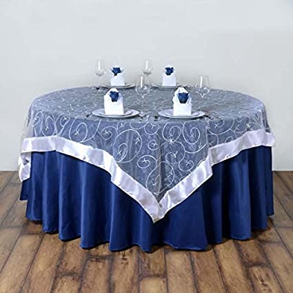 Attrayant Tableclothsfactory White Organza Embroidered Table Overlay  85u0026quot;x85u0026quot; (Table Toppers)