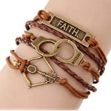 Time Pawnshop Retro Faith Handcuffs Bow and Arrow Braided Multilayer Handmade Bracelet